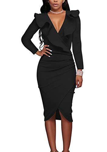 YMING Frauen Tief V-Ausschnitt Partykleid Midi Kleid Volant Kleid Bodycon Stretchkleid Schwarz XL/DE 42-44
