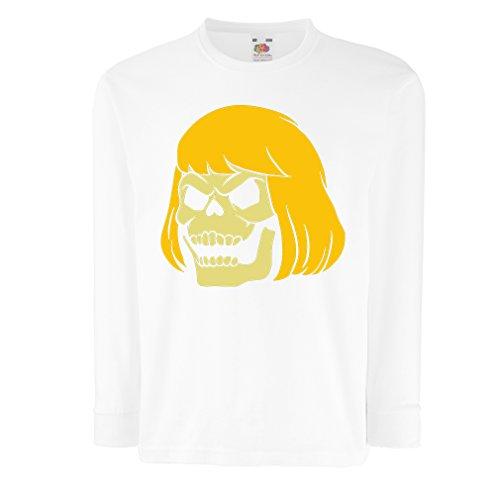 N4411D La Camiseta de los niños con Mangas largas Blonde Skull (3-4 Years Blanco Multicolor)