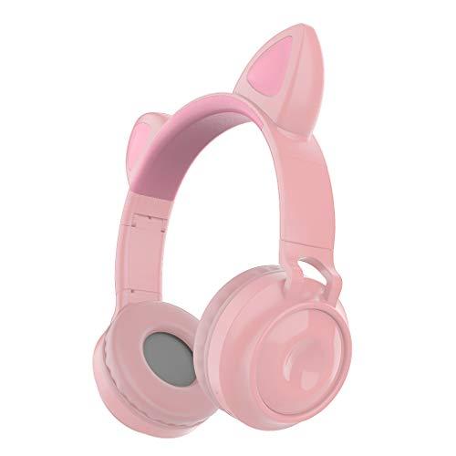 JIABAN Auriculares Bluetooth con orejas de gato, plegables con auriculares, con sistema de brillo LED
