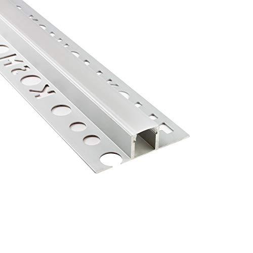 LED Aluprofil T77 Bordüre 12mm silber Fliesenprofil + Abdeckung Fliesen für LED-Streifen-Strip 2m opal