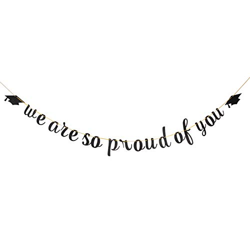 Black We are So Proud of You Banner - Congrats Graduate Banner - 2020 Graduation Party Decoration Supplies