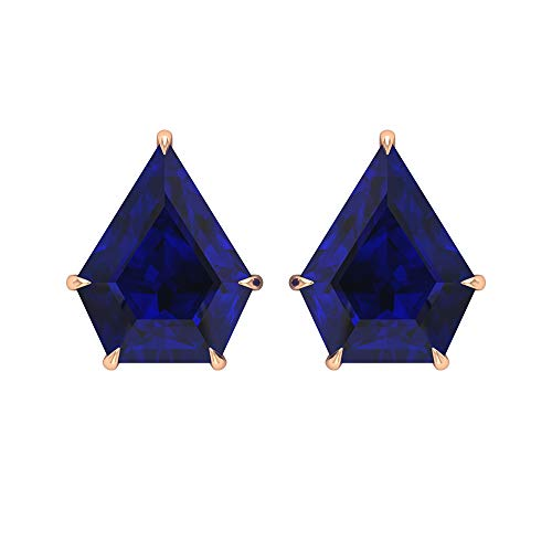 Pendientes de tuerca de zafiro azul creado en laboratorio con escudo de 7 CT (calidad de reliquia), 14K Oro rosa, Par