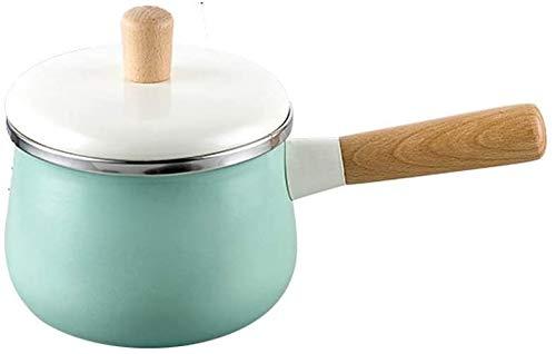 WUZHOOA Olla de Leche Milk Pot con Tapa de Leche esmaltada con Tapa, 1.7L Cocina Non-Stick Mini Sopa Pot, Cocina de Inducción Estufa de Gas aplicable Utensilios de Cocina