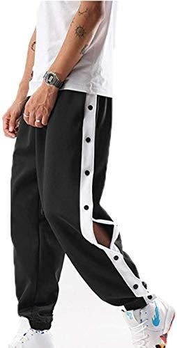 Pantalones de chándal Totalmente Abiertos con Botones Laterales para Hombre Pantalones de Entrenamiento de Baloncesto Sueltos Ocasionales