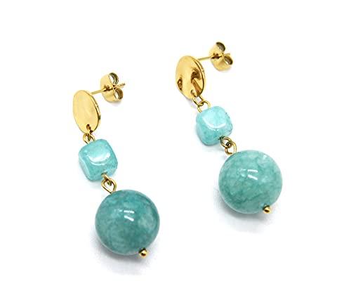 BO2046 – Pendientes con medalla martillada de acero dorado y piedras azul-verde