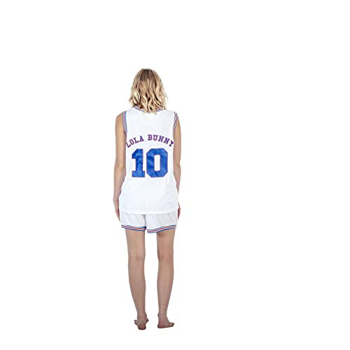 Space Jam Tune Squad Logo Lola Bunny #10 White Basketball Jersey (Adult Small)