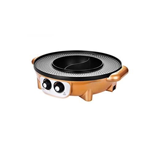 GZQDX elektrische hot pot, 2-in-1 multifunctionele elektrische hot pot, barbecue grillpot, geschikt voor meer dan 5 personen