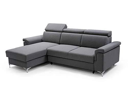 MOEBLO Ecksofa mit Schlaffunktion Mit Bettkästen Eckcouch Polsterecke Modernes Design REVON (dunkelgrau, Ecksofa Links)