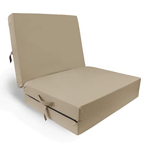 HERLAG Klappmatratze Senior (Farbe beige, Maße 195x85x10 cm, Gästebett, Faltmatratze, Bezug waschbar) P05010-2072
