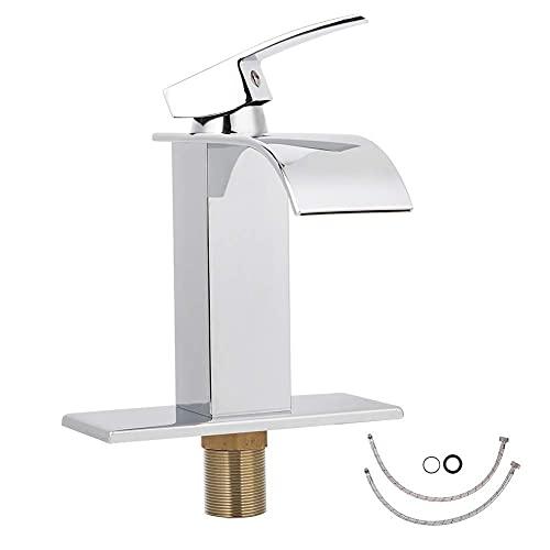 ZLJ Grifo de Cascada Grifo de baño de una manija Grifo de Lavabo de un Orificio Grifo de Agua fría y Caliente para baño