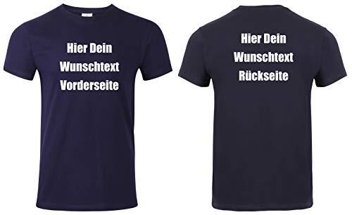 Herren T-Shirt Vorder und Rückseite Bedrucken. T-Shirt selber gestalten. T-Shirt Druck. T-Shirt mit Wunschtext. T Shirts sind Ökotex-100 Zertifiziert. - Dunkelblau XL