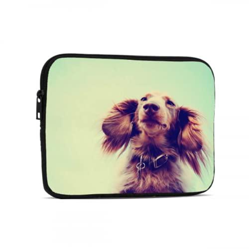 Bolsa para computadora portátil para Hombres Un Perro Salchicha de Pelo Largo en Miniatura con Sus Orejas Bolsa con Cremallera Compatible con iPad 7.9/9.7 Pulgadas Bolsa Protectora de Tab
