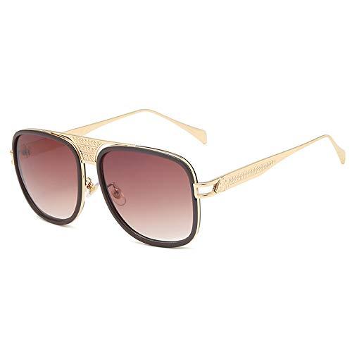 QINGZHOU Gafas de Sol,Gafas de sol de ojo de gato Gafas de sol de moda Gafas de cara de modificación Lente de degradado de dos tonos Moda, Marco dorado Té degradado