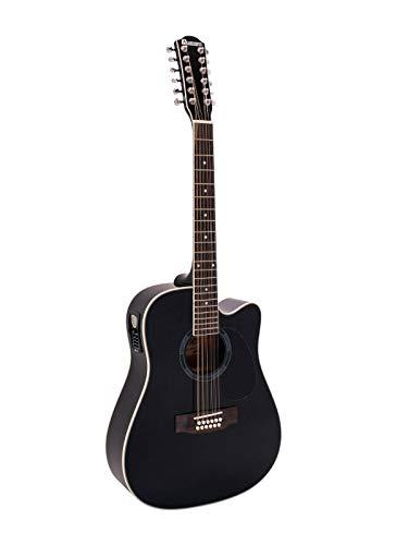 showking 12 - saitige Western Gitarre TENVER, Zwölf Stahlsaiten, schwarz - 12 - Saiter Gitarre für Beginner und Fortgeschrittene