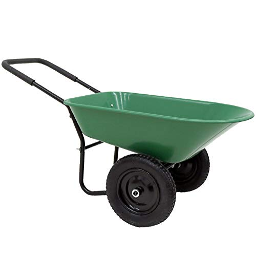 ADHW Heavy Duty Plastic Two Wheeled 70L Garden Yard Wheelbarrow Pneumatic Tyre