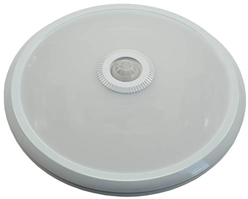 Plafondlamp plafondlamp met infrarood bewegingsmelder, Ø 29cm 6cm hoog, mat wit front