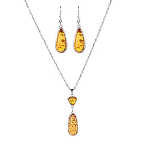 Yazilind Gota Collar Mujer colgante para Mujer Charm Vintage Amber Earring Jewelry Set