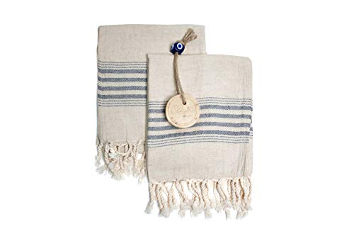 Ahenque Set of 2 Linen Cotton Blend Premium Quality, Long Tea Towel Natural in Color and Eco-Friendly Dish Towel, Hand-loomed Dishclothes, Cream Kitchen Towel Set, Hand Towel Set (Black)
