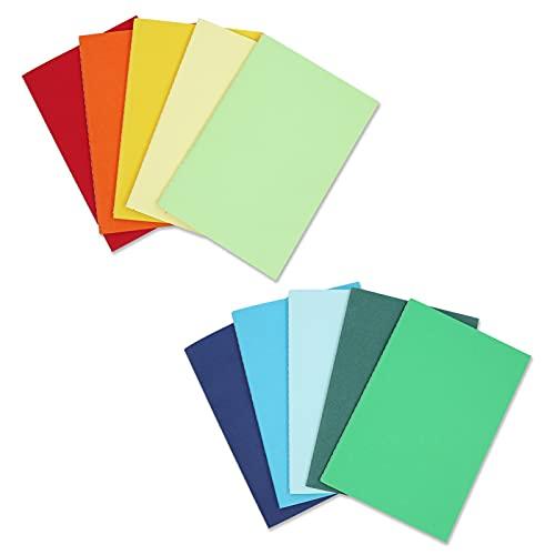 """Quanerba A5 Cuadernos [Pack de 10], 10 Colores Bloc de Notas de Kraft Blanda, 60 Páginas, 8.3*5.5"""" (21*14cm), Libretas Grapadas para Diarios,Escolar Escribir, Diario de Viaje Libreta"""