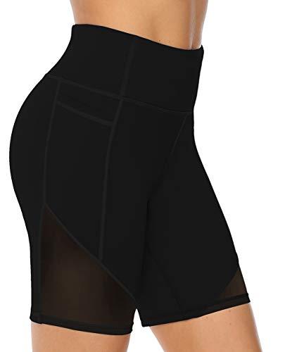 JOYSPELS Kurze Sporthose Damen, Radlerhose Damen Kurz Laufhose Leggings Sport Biker Running Yoga Fitness Shorts Schwarz XXL
