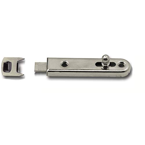 SECOTEC Möbelriegel gerade mit Knopfschieber / 16x70 mm / inkl. Schließblech / Stahl vernickelt / 2 Stück