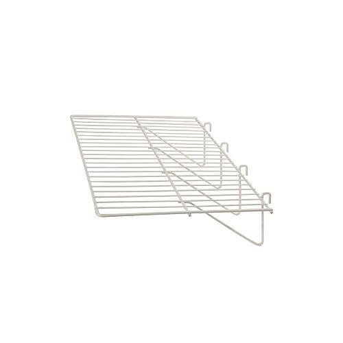 Econoco - Grid Panel Display Shelf - Clothing Display Rack Grid, Heavy Duty Shelves, 12'D x 23-1/2'W Straight Shelf for Grid Panel, White Finish, Wire, (Box of 6)