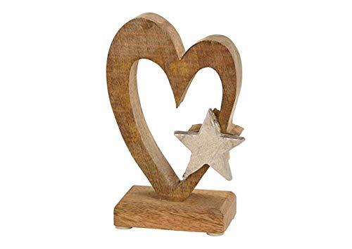 Deko Figur Herz mit Stern 15 cm, Mango Holz massiv natur braun Sternchen Metall Alu silber, Dekoherz Herzaufsteller Herzdeko zum Stellen