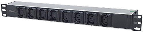 Intellinet stekkerdoos met randaarde 8-voudige C13 met kabelklemmen C20 stekker zwart/zilver