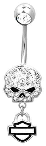 Harley-Davidson Women's Belly Jewel, Bling Willie G Skull, Silver HDZ0057