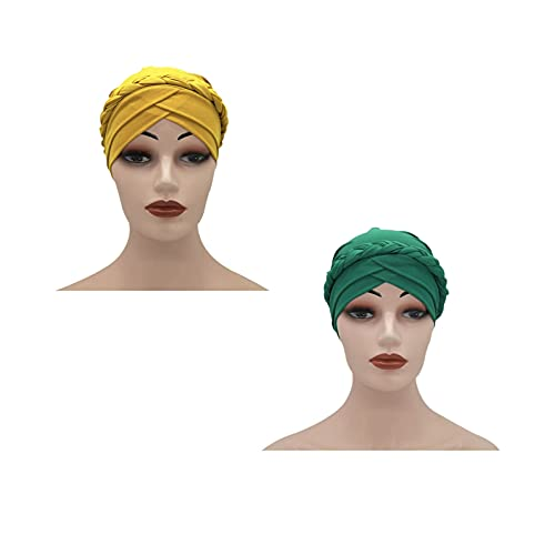 RKRCXH Sombreros de Turbante Suaves para Dormir de 2 Piezas Sombrero Turbante Estampado Sombrero del Sueño Gorro para la Mujer Envoltura de Turbante(Color:2)