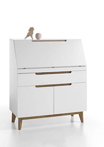 Newfurn Sekretär Schreibtisch Schreibkommode Modern II 97x113x 40 cm (BxHxT) II [Isaac.Four] in Weiß/Eiche Wohnzimmer Büro Arbeitszimmer Schlafzimmer