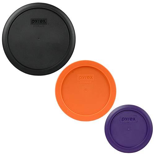 Pyrex (1) 7402-PC Black & (1) 7201-PC Orange & (1) 7200-PC Plum Purple Round Plastic Food Storage Replacement Lids