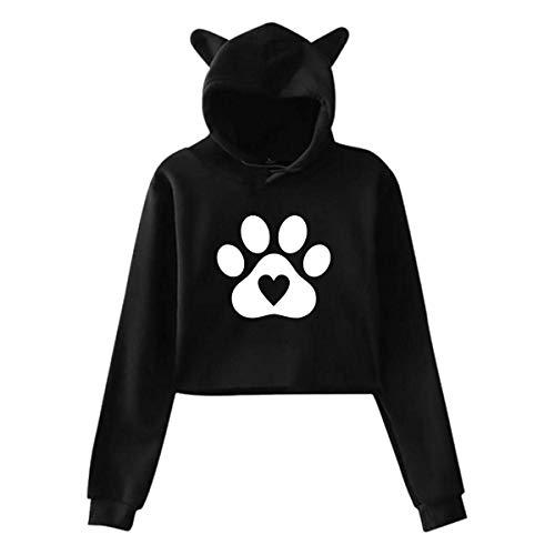ZSMJ Sudadera con capucha para niñas con diseño de huellas de perro, corazón y orejas de gato