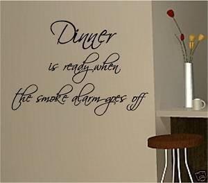 Online Design Abendessen Bereit Rauchmelder Wanddekor Aufkleber Vinyl Küche - Rosa