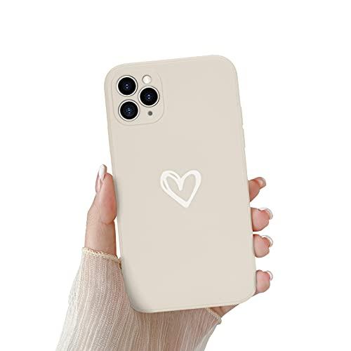 Newseego Funda Compatible con iPhone 11 Pro, Carcasa con Parachoques de Líquido Silicona Suave para iPhone 11 Pro Delgada Cover Love Heart Antigolpes Case de Telefono para iPhone 11 Pro-Blanco