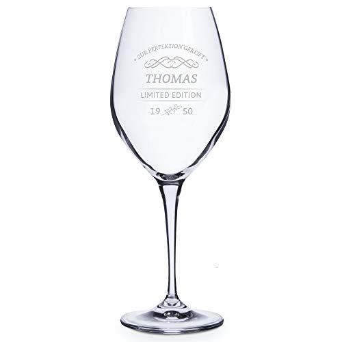 Personello® Weissweinglas mit Gravur (Motiv Limited Edition), Weinglas mit Name, Datum und Sprüche graviert (personalisiert), Geburtstagsgeschenk, Geschenkidee für Weintrinker (Weißwein)