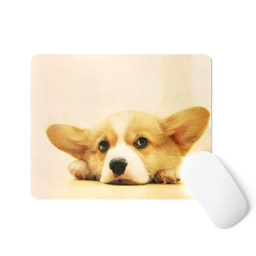 MasiBloom Premium PU Leather Mouse Pad Waterproof Non-Slip Desk Mice Mat for Apple Magic Mouse Microsoft Surface Mouse, Laptop Wired/Wireless Bluetooth Mouse (Mouse Pad, Dog- Corgi)