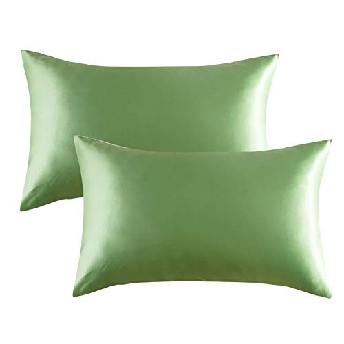Bedsure Satin Pillowcase for Hair and Skin, 2-Pack - Standard Size (20x26 inches) Pillow Cases - Satin Pillow Covers with Envelope Closure, Sage