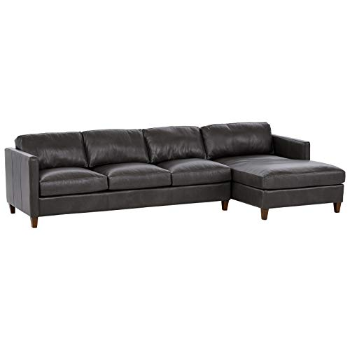 Amazon Brand – Stone & Beam Andover Right-Facing Sofa-Chaise Sectional, 126'W, Charcoal Leather