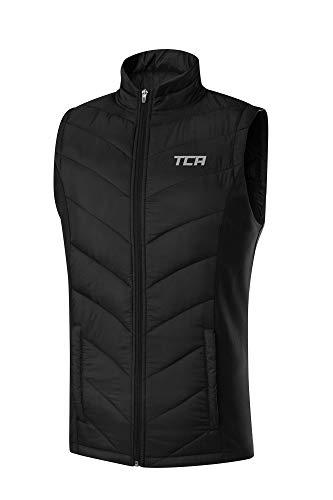 TCA Excel Runner Herren Thermo-Laufweste mit Reißverschlusstaschen - Ärmellos - Black Stealth (Schwarz), L