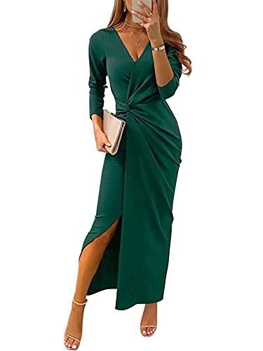 Vestido ceñido al cuerpo para mujer, vestidos elegantes con cuello en V y abertura, vestido largo para fiesta de cóctel, vestido largo para mujer, vestidos formales para graduación (Verde , Small )