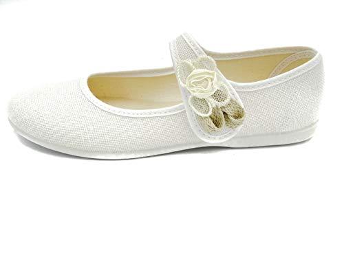 PULIDINES - Mercedita de Lino con Flor de Adorno y Suela de Goma Niñas Talla: 29 Color: Blanco