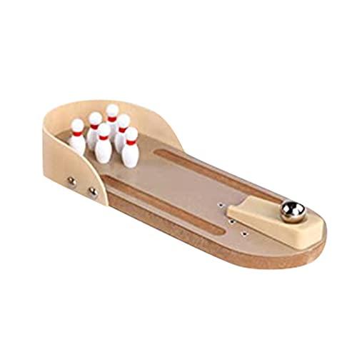 Desktop Mini Bowling Game Set, Einzigartige Neuheit Office Party Schreibtisch Spielzeug, Holz Tischplatte Spaß Familie Interaktive Brettspiele für Kinder Erwachsene, Finger Sport Spielzeug