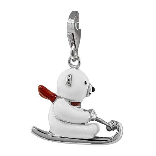 SilberDream Charm 925 Silber Emaille Anhänger weiß Bär auf Schlitten FC850W