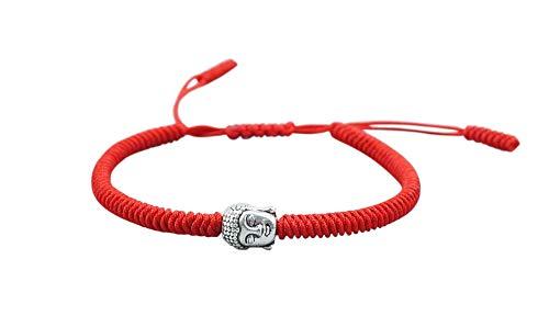 Lucky Buddhist – Braccialetto Buddista Tibetano + Ciondolo/Collana! Bracciale per donna, uomo, adolescente – Regola le dimensioni del braccialetto – Realizzato a Mano In Corda (Rossa, Metallo Budda)