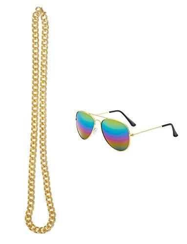Seawhisper Hippie Accessoires Goldkette Sonnenbrille Herren Rund 2-teilig 70er 80er 90er Jahre Bekleidung Accessoires Herren