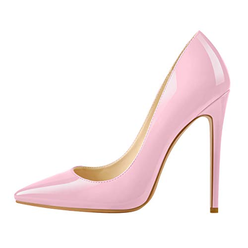 Richealnana Women's Pointed Toe Pumps Sexy Ballroom Stiletto High Heels Wedding Pumps Faux Patent Leather Pink Size 13