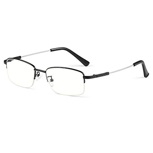 HQMGLASSES Gafas de Lectura Gafas de luz Anti-Azules de los Hombres, Marcos rectangulares bisagras exquisitas Lentes de Resina HD de Lectura de Lentes dioptricos +1.0 a +3.0,Negro,+1.5