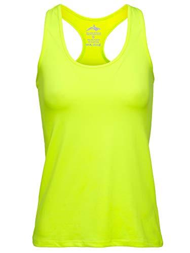 Killer Whale Ärmellose Sporthemden für Damen (Gelbes Neon, S)