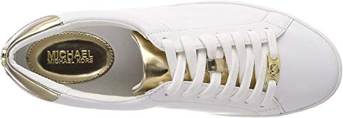 Damen Schuhe Sneakers MICHAEL KORS Irving Lace Up Leather White Optic Gold Weiss